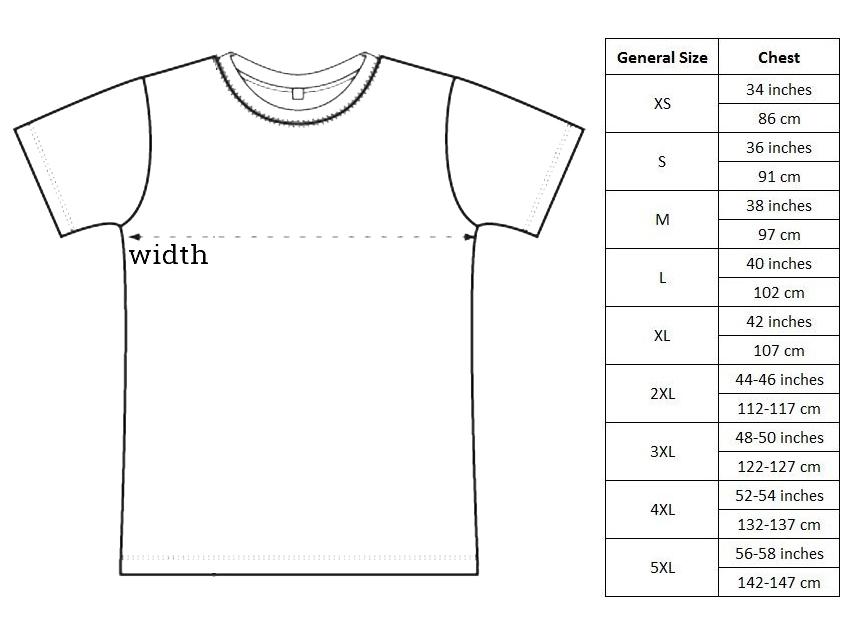 Shirt sizing chart